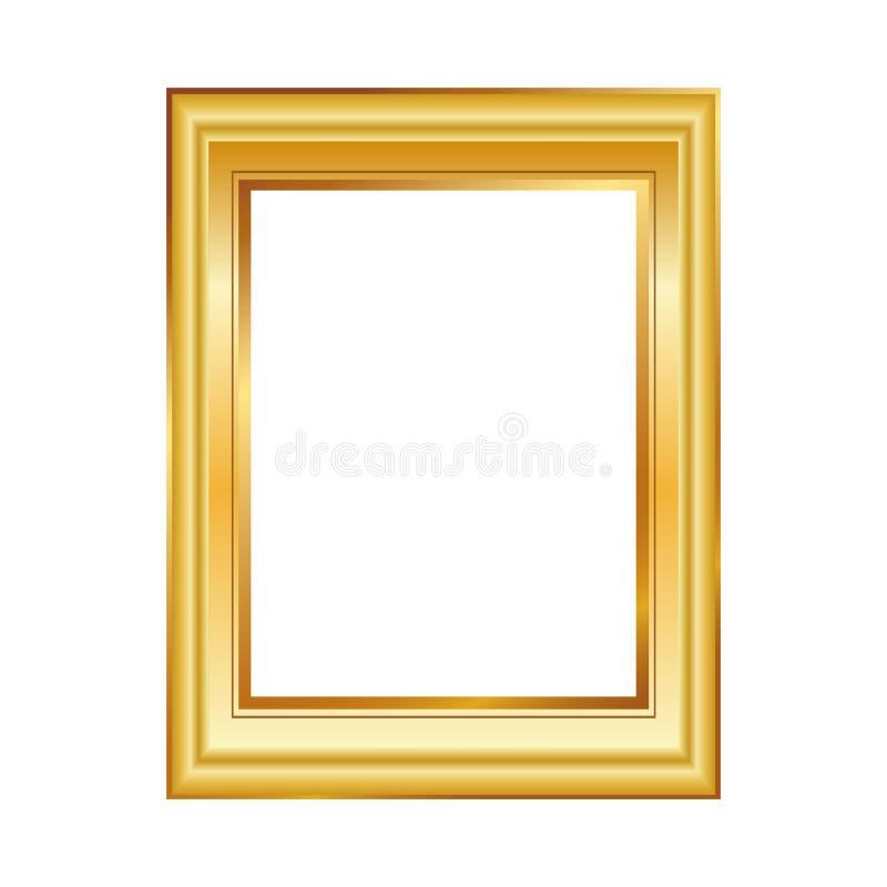Blocco per grafici dorato isolato su priorità bassa bianca Composizione classica in stile Modello in bianco della cornice Element illustrazione vettoriale