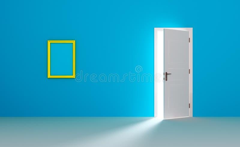 Blocco per grafici dorato in una stanza blu vuota royalty illustrazione gratis