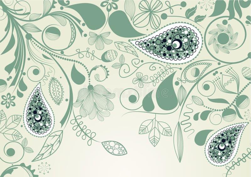 Blocco per grafici floreale con Paisley illustrazione di stock