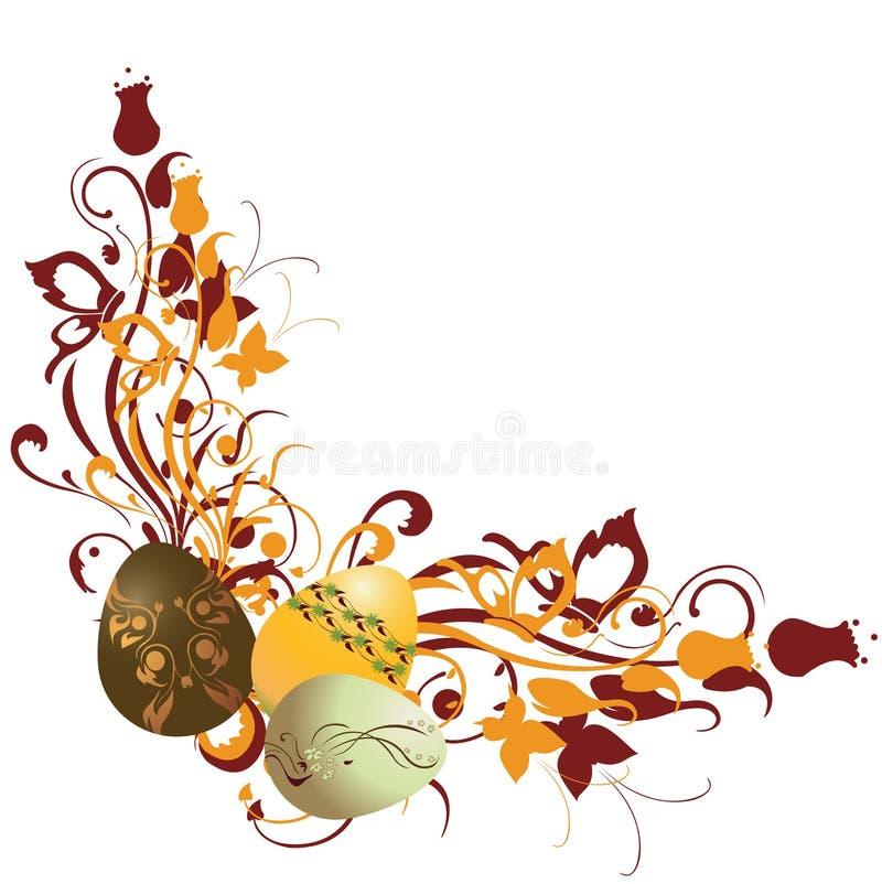 Blocco per grafici floreale decorato con le uova di Pasqua illustrazione di stock