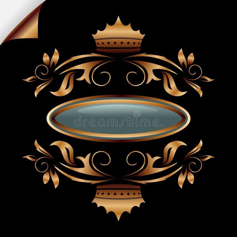 Blocco per grafici floreale dell'annata dell'oro illustrazione di stock