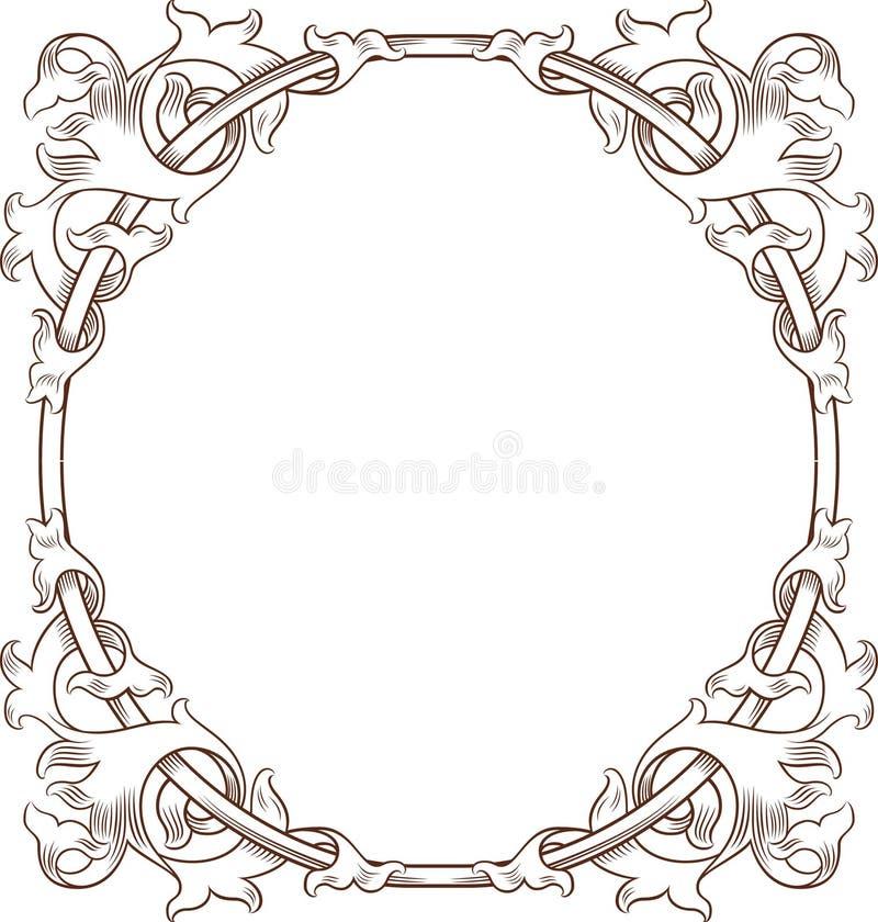 Blocco per grafici floreale dell'annata ROTONDO illustrazione di stock