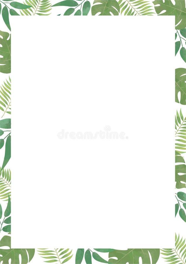 Blocco per grafici floreale di vettore Struttura floreale con le foglie tropicali Blocco per grafici floreale verde illustrazione di stock