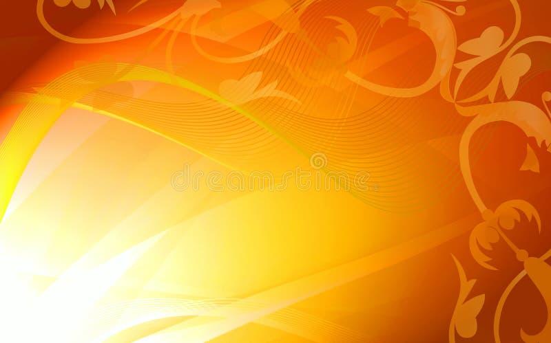 Blocco per grafici floreale dorato di astrazione illustrazione di stock