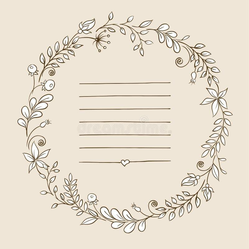 Blocco per grafici floreale i retro fiori hanno sistemato in una forma della corona per gli inviti e le carte di nozze illustrazione vettoriale
