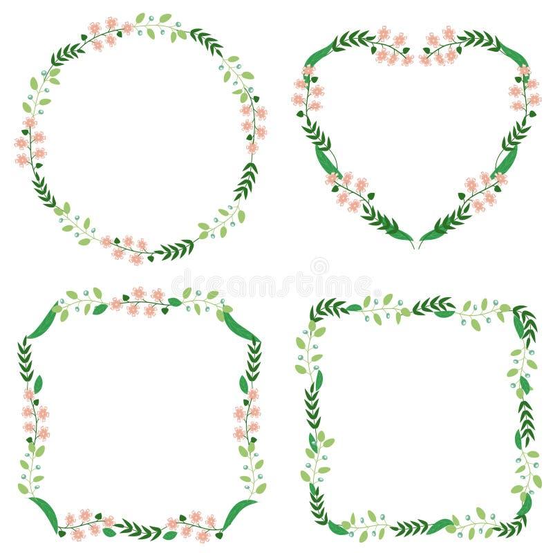 Blocco per grafici floreale Retro fiori svegli della corona perfetta per gli inviti e le carte illustrazione di stock