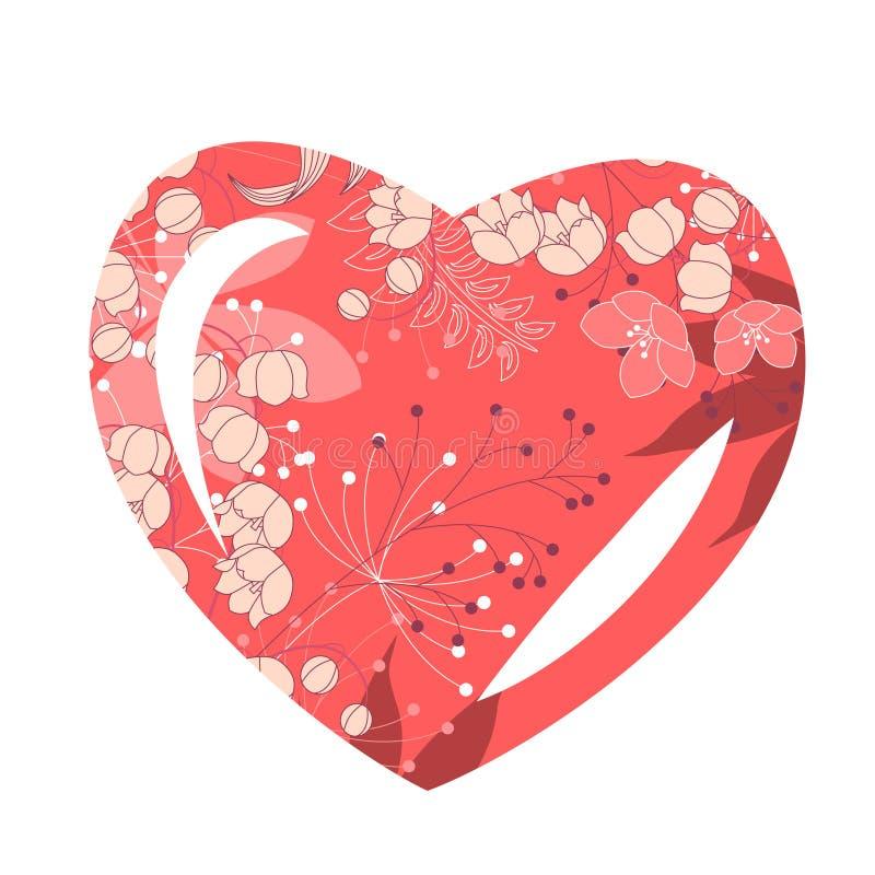 Blocco per grafici Heart-shaped con i fiori stilizzati illustrazione vettoriale