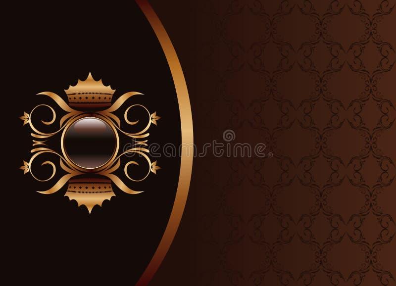 Blocco per grafici nero dell'invito di colore marrone dell'oro royalty illustrazione gratis