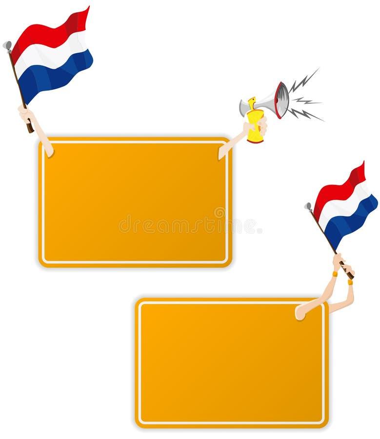 Blocco per grafici olandese del messaggio di sport con la bandierina. illustrazione di stock