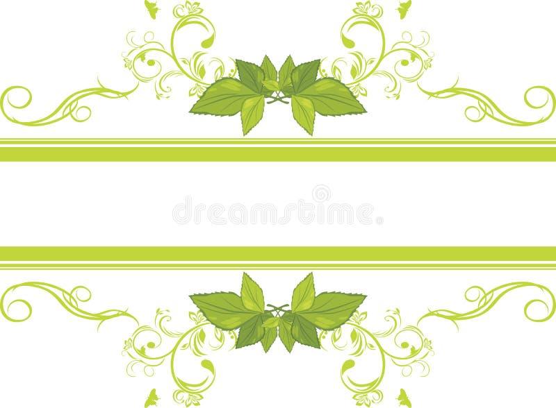 Blocco per grafici ornamentale con i fogli verdi illustrazione vettoriale