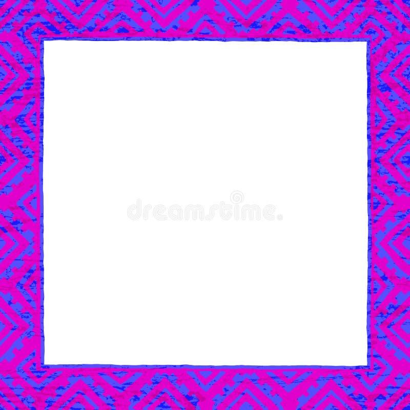 Blocco per grafici quadrato Motivi etnici e tribali Colori al neon - rosa, blu royalty illustrazione gratis