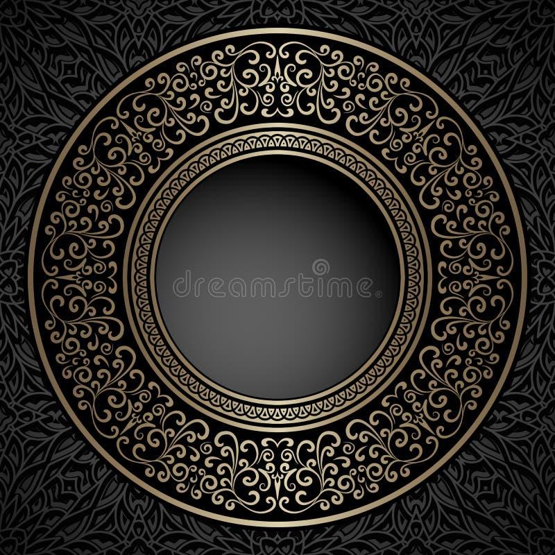 blocco per grafici rotondo dell'oro dell'annata illustrazione di stock