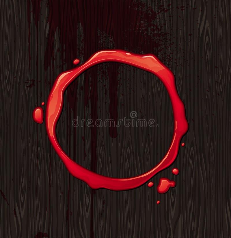 Blocco per grafici rotondo sanguinante su priorità bassa di legno nera illustrazione di stock