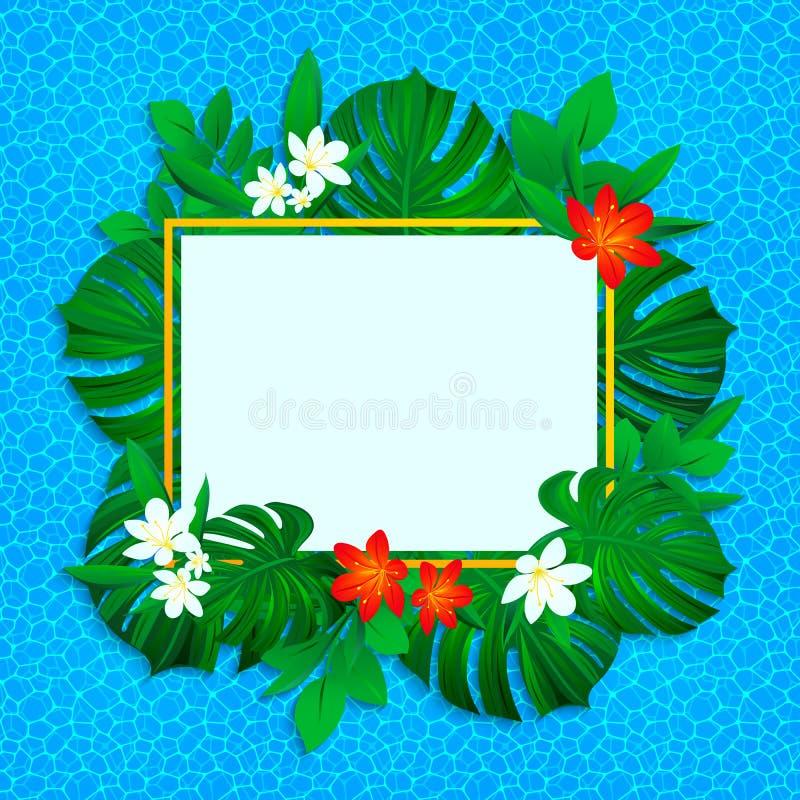 Blocco per grafici tropicale floreale illustrazione esotica dei fiori di vettore fondo con le piante della giungla, foglie delle  illustrazione di stock