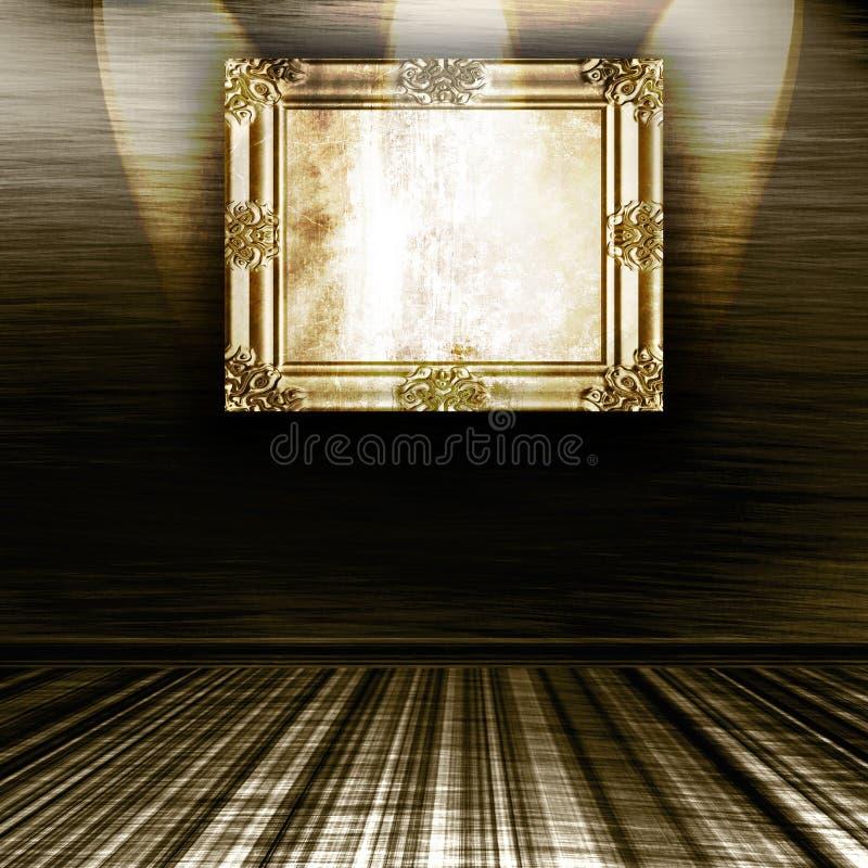 Blocco per grafici vuoto dell'oro sulla parete illustrazione di stock