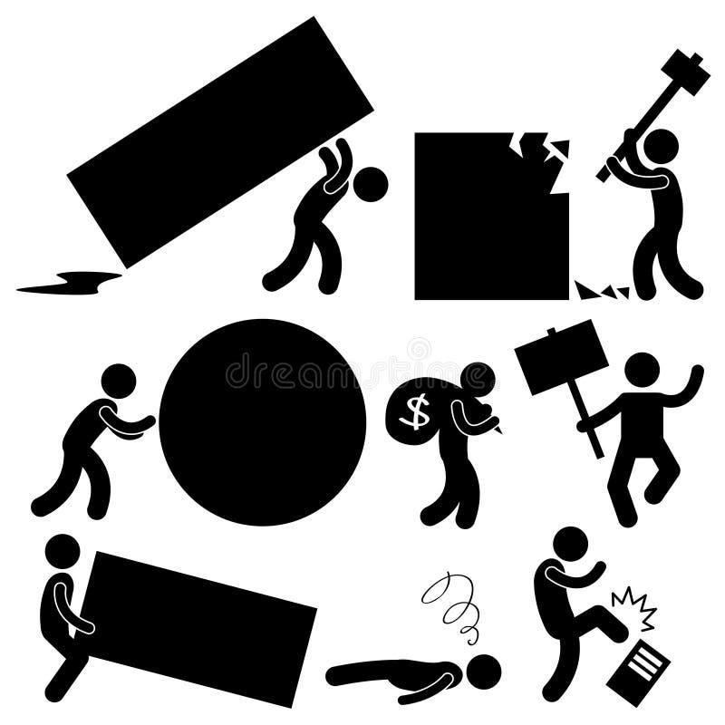 Blocco stradale della transenna di rabbia di difficoltà del lavoro di affari della gente illustrazione vettoriale