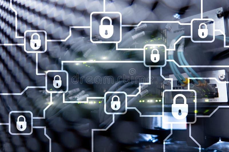 Blochain-Informationsverschlüsselung Internetsicherheit, Schlüsselwährung vektor abbildung