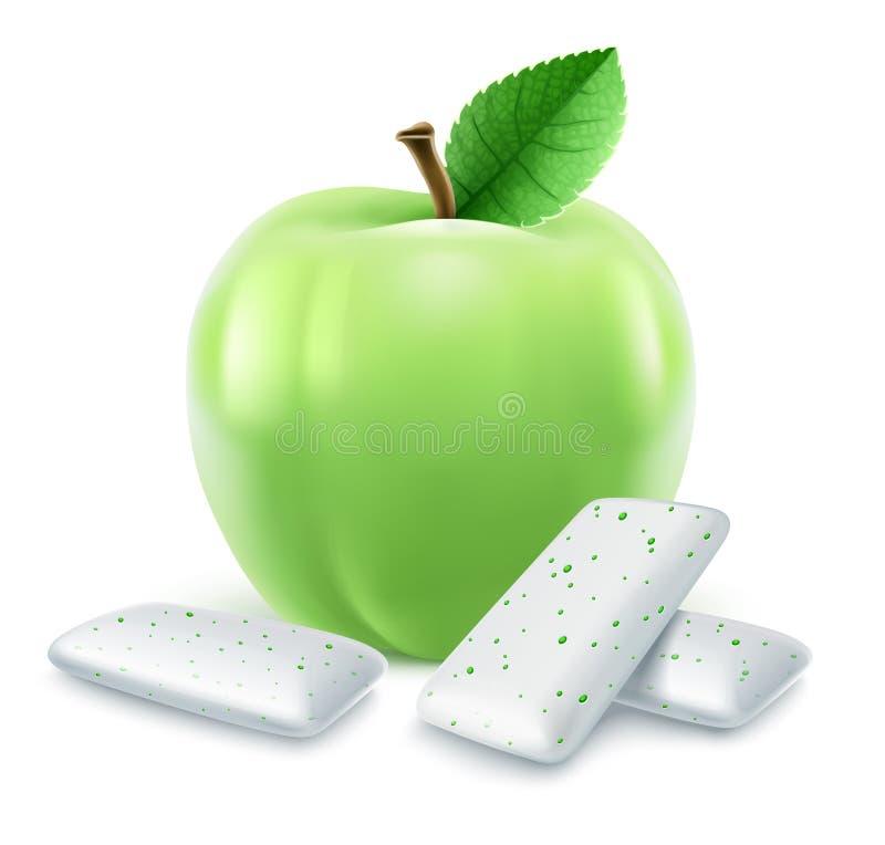 Block av bubbelgum med grön äppleanstrykning royaltyfri illustrationer