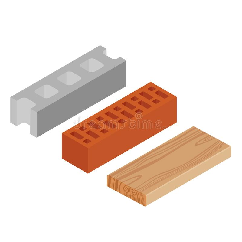 Block, brick and plank stock illustration