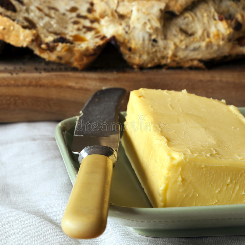 Download Block Of Butter With Sliced Bread Stock Image - Image: 27214681