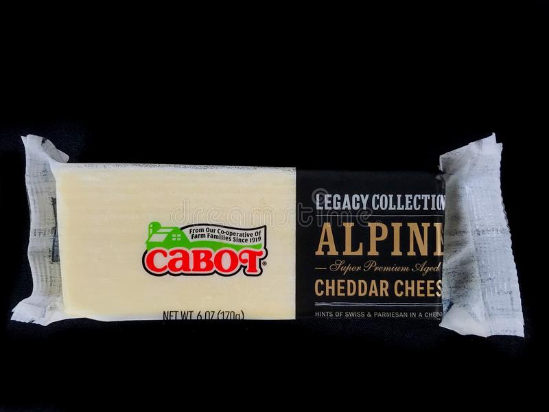 Block of Cabot Alpine Super Premium Aged Cheddar Cheese royalty free stock photos