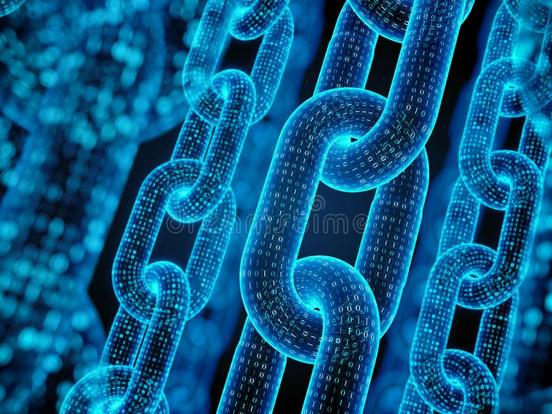 Block chain concept - digital code chain. 3d rendering royalty free illustration