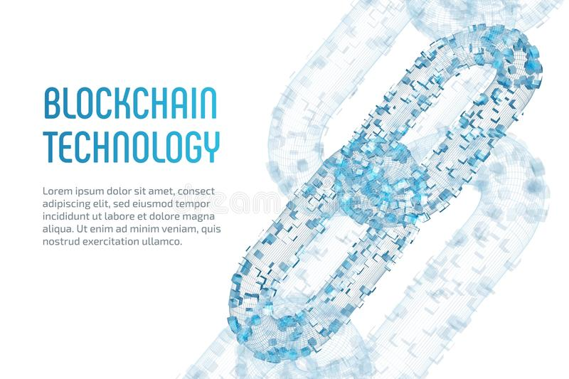 Block chain. Crypto currency. Blockchain concept. 3D wireframe chain with digital blocks. Editable cryptocurrency royalty free illustration