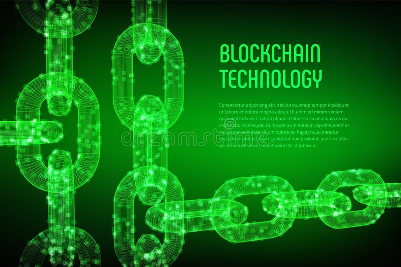 Block chain. Crypto currency. Blockchain concept. 3D wireframe chain with digital blocks. Editable cryptocurrency template. Stock. Vector illustration royalty free stock image