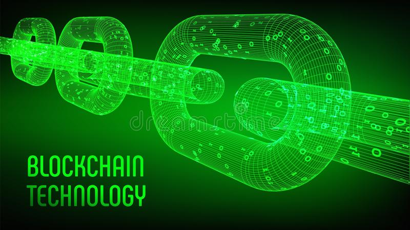 Block chain. Crypto currency. Blockchain concept. 3D wireframe chain with digital code. Editable cryptocurrency template. Stock vector illustration royalty free illustration