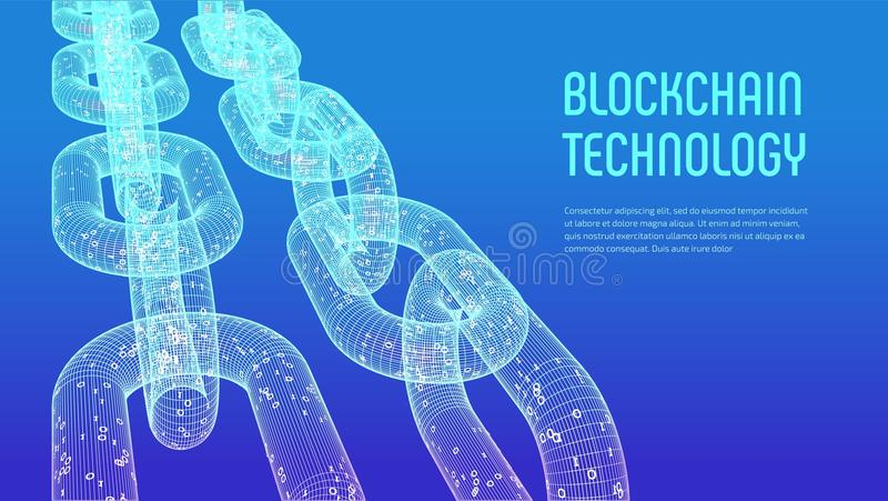 Block chain. Crypto currency. Blockchain concept. 3D wireframe chain with digital code. Editable cryptocurrency template. Stock ve royalty free illustration