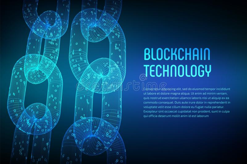 Block chain. Crypto currency. Blockchain concept. 3D wireframe chain with digital code. Editable cryptocurrency template. Stock ve. Ctor illustration royalty free stock photo
