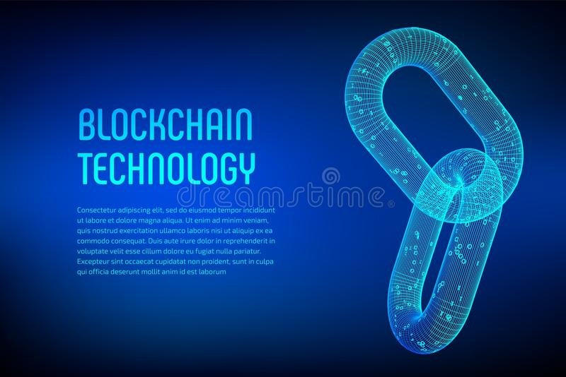 Block chain. Crypto currency. Blockchain concept. 3D wireframe chain with digital code. Link wireframe sign. Internet technology. vector illustration