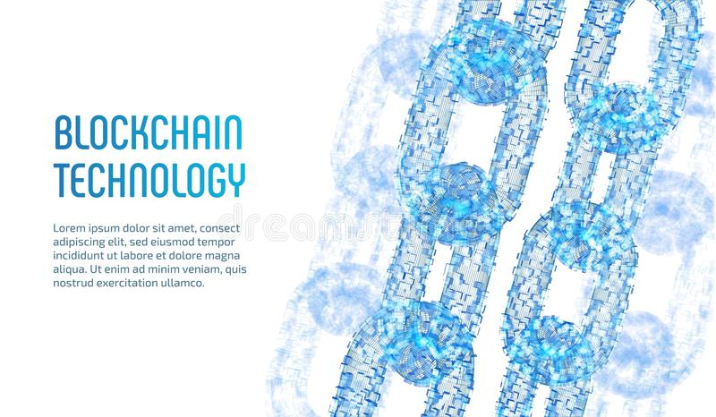 crypto currency blockchain concept 3d wireframe chain with digital blocks