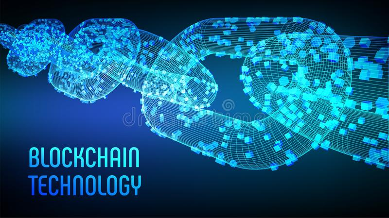 Block chain. Crypto currency. Blockchain concept. 3D wireframe chain with digital blocks. Editable cryptocurrency template. Stock. Vector illustration royalty free stock photo