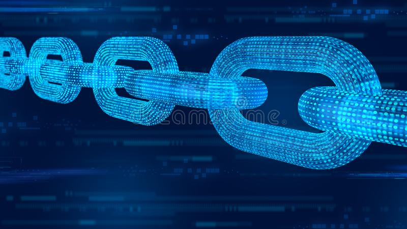 Block chain. Crypto currency. Blockchain concept. 3D wireframe chain with digital code. Editable cryptocurrency template. 3D illus royalty free stock image
