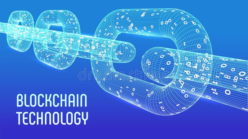 Block chain. Crypto currency. Blockchain concept. 3D wireframe chain with digital code. Editable cryptocurrency template. Stock ve. Ctor illustration stock illustration