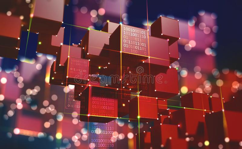 Block chain. The global architecture of the information space of the future. 3D illustration of an array of cubes with bright neon rays of light vector illustration