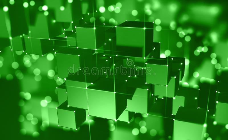 Block chain. The global architecture of the information space of the future. 3D illustration of an array of cubes with bright neon rays of light royalty free illustration