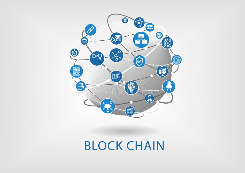 Block chain illustration with connected globe on light grey background stock illustration
