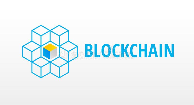 Block chain logo or icon - 3d isometric cubes network vector ill royalty free illustration