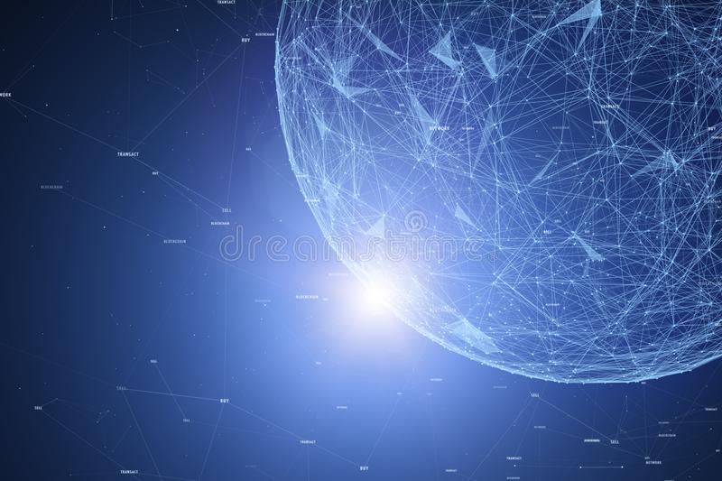 Block chain network with futuristic sphere royalty free stock image