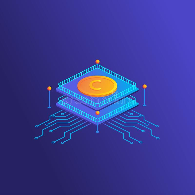 Block chain technology concept. Crypt currency illustration. royalty free stock image