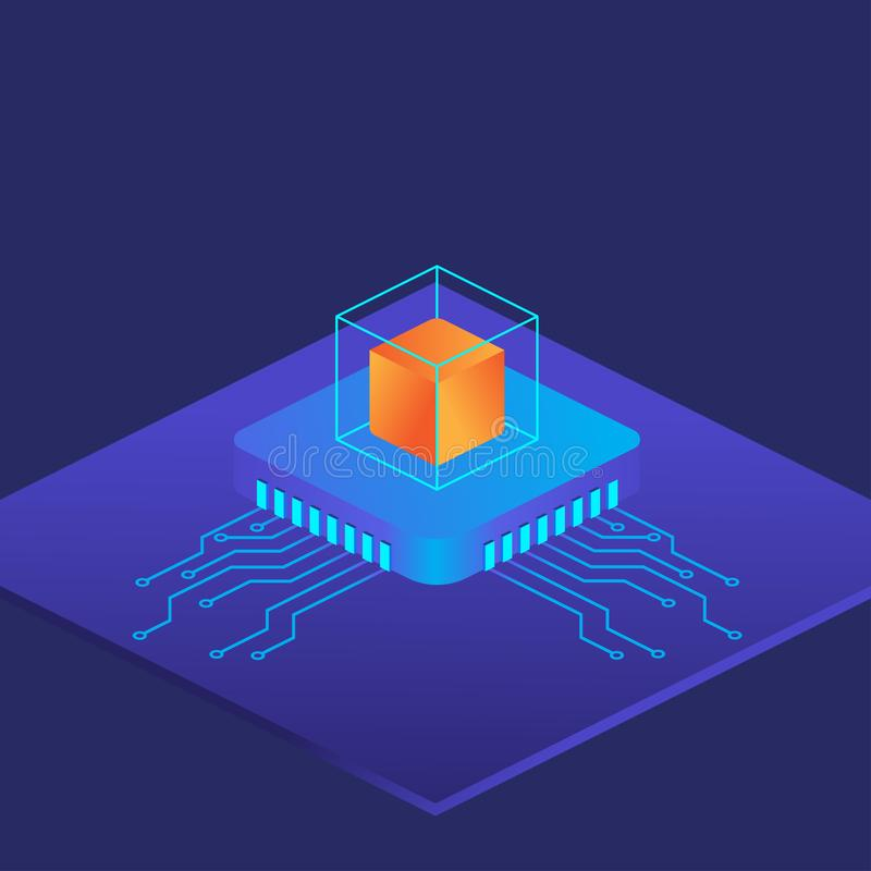 Block chain technology concept. Crypt currency illustration. stock images
