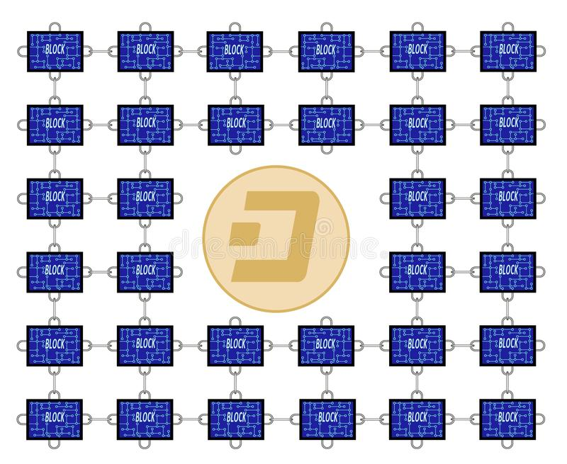 Block chain technology of dash. With chain between blocks on white background ,block chain design concept color ,blocks with dash coin in the center ,block have vector illustration