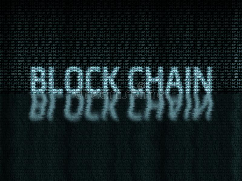 Block chain text written in binary zero-one format. With water ripple reflect effect on dark background. Concept of distributed decentralized network royalty free stock photo