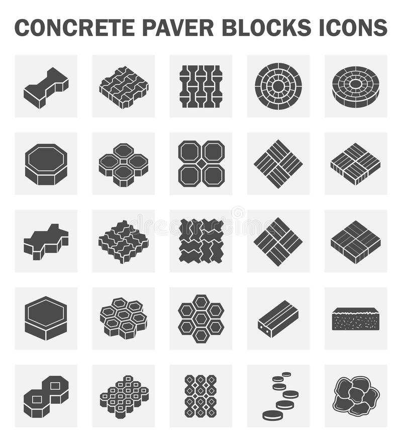 Block. Concrete paver block icons sets royalty free illustration