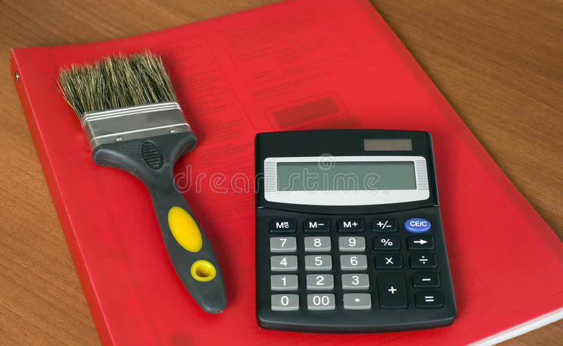 Download Block Of Documents With Calculator And Paintbrush Stock Photo - Image of background, information: 11681532