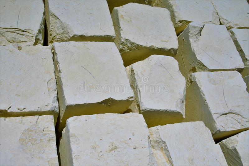 Marsaxlokk, Malta, August 2019. Blocks of yellow maltese stone as abstract background. Block.The famous Maltese limestone, soft during mining and quickly royalty free stock photo