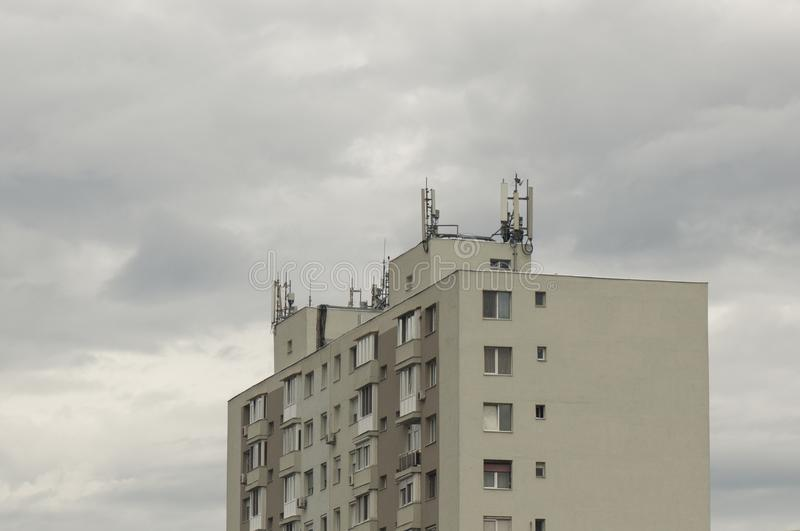 Block of flats with antenna royalty free stock photography