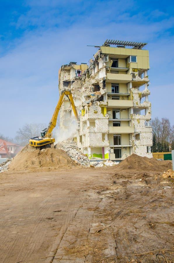 Block of flats demolition stock photography